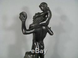 Antique Faune Satyre Aux Cymbales Bacchus Dyonisos Sculpture Ancienne Bronze