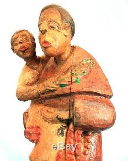 Art Africain Ancien Colon Ewe Prêtre Religieux Baptême d'Enfant 25 Cms