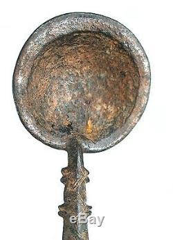 Art Africain Ancienne Cuillère Koulango en Bronze Socle sur Mesure 20 Cms
