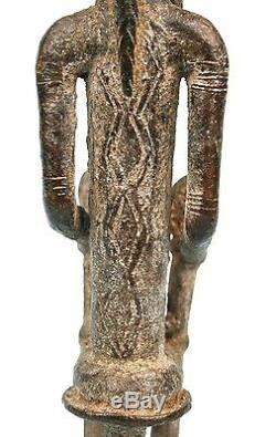 Art Africain Ancienne Maternité en Bronze Dogon Jumeaux Mali 25,5 Cms