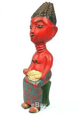 Art Africain Ancienne Statuette en Bois Maternité Colon Agni 27 Cms ++++++