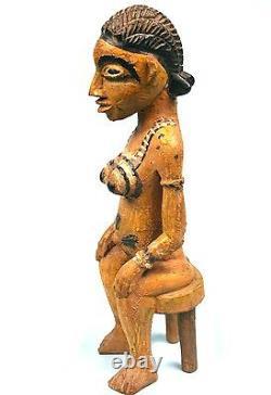 Art Africain Arts Premiers Ancien Colon Senoufo Statuette Bois 33 Cms