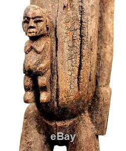 Art Africain Premiers Ancienne Maternité Lobi Bras Levé Sur Socle 82,5 Cms