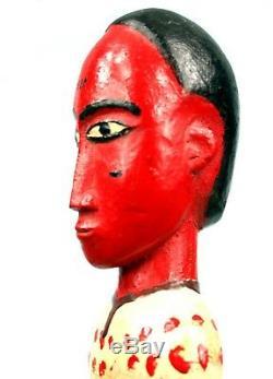 Art Africain Tribal Ancienne Statue en Bois Charmant Colon Baoulé 32,5 Cms