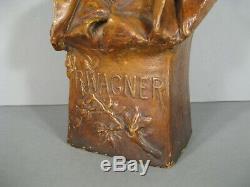Atelier Goldscheider Vienne Sculpture Terre Cuite Buste Ancien Richard Wagner