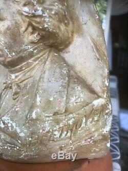 BEETHOVEN Ancien statuette bas relief Buste signé avec tampon au dos en plâtre