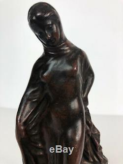 BRONZE ANCIEN DU 19e REPRESENTANT UNE FEMME VOILÉE 20 CM DE HAUT