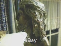 BRONZE ANCIEN JESUS CHRIST GRAVé ECCE HOMO, PATINE EXCEPTIONNELLE
