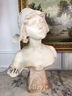BUSTE DE JEUNE FEMME ANCIEN DU 19e EN ALBATRE SIGNÉ AWILLY DE 48 CM DE HAUT