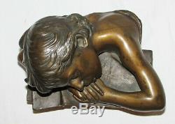 BUSTE petit garçon BRONZE ANCIEN SCULPTURE ENFANT Angles little boy bust 1900