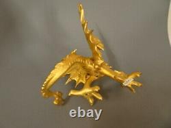 Beau dragon ancien en bronze doré. Statuette, statue, sculpture, XIX°