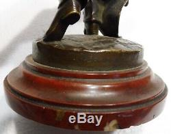 Belle STATUE ancienne bronze homme FRATELLI GUELIANETTI MILANO socle marbre