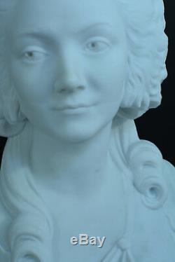 Belle Sculpture Ancienne en marbre Portait Louis XVI Marie Antoinette Courtisane