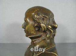 Beranger Buste Ancien Bronze/ Statue Bronze Chansonnier Pierre Jean De Beranger
