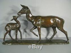 Biche Et Faon Sculpture Ancienne Statue Animalière Bronze Signé Irénée Rochard