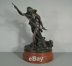 Bouchardon Sculpture Ancienne Bronze Diane Chasseresse Sanglier Fondeur Thiebaut