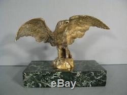 Bronze Aigle Ailes Déployées Ancienne Sculpture Statue Animalière Porte-montre
