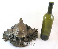 Bronze Ancienne Sculpture D'Une Tortue Petite Statue Antique Animal BM6