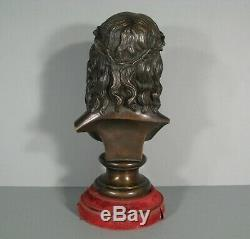 Bronze Ecce Homo Buste Christ A La Couronne Dépines Sculpture Ancienne Christ
