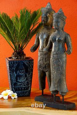 Bronze Statue De Khmer Roi Paire Cambodge Sculpture Métal Asiatique Asie Ancien