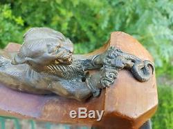 Bronze ancien Felin leopard fauve Chimere Au Serpent