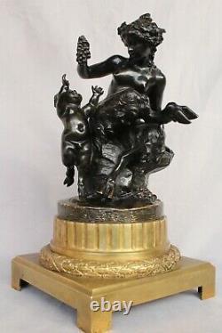 Bronze ancien Signé Clodion Bacchante Et Son Amour Empire Louis XVI Bronze Doré