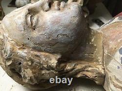 Buste Ancien Bois 18eme Ht 25cm