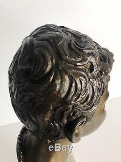 Buste Ancien En Bronze D'un Jeune Homme Signé Giovanni Martino (1870-1935)