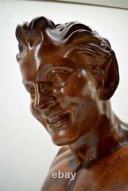Buste Ancien de Satyre dit Faune de Vienne Stuc Peint Patiné XIX Louvre Diable