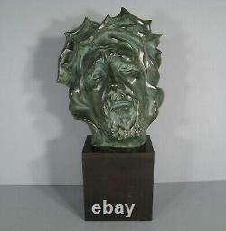 Buste Christ A La Couronne Dépines Sculpture Ancienne Bronze Signé Lassoeur