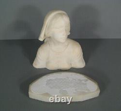 Buste Jeanne D'arc Sculpture Ancienne Albtre Signé Pugi