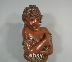 Buste Jeune Femme Surprise Sein Nu Sculpture Bronze Ancien D'après Houdon