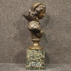 Buste de femme sculpture en bronze statue base de marbre style ancien 900