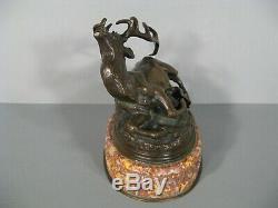Cerf Blessé Sculpture Animalière Ancienne Bronze Signé Louis Vidal Aveugle