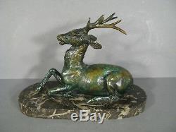 Cerf Sculpture Animalière Ancienne Bronze Signée Fiot /maximilien Fiot Sculpteur