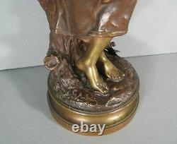 Charles Anfrie Jeune Femme Au Tricot Grande Sculpture Bronze Ancien Signé Anfrie