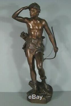 Chasseur A Laffût Sculpture Ancienne Bronze Signé Eugène Marioton