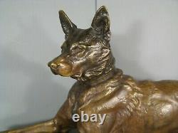 Chien Berger Allemand Sculpture Bronze Ancien Signé Louis Riché Fondeur Colin