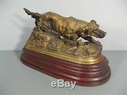 Chien De Chasse A Laffût Ancienne Sculpture Animalière En Bronze Patiné