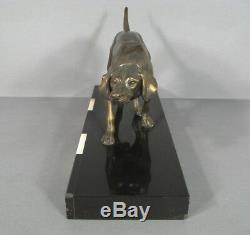 Chien De Chasse Sculpture En Régule / Statue Ancienne Métal Chien A Laffût