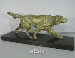 Chien De Chasse Setter Ancienne Sculpture Animalière En Régule / Statue Chien