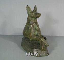 Chien Loup Couché Ancienne Sculpture Animalière Bronze Signé Maximilien Fiot