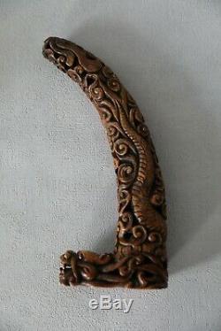 Corne En Pierre Dur Chinoise Sculpte. Ancienne Rare