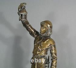Couvre-feu Sculpture Ancienne Homme Moyen-age Sentinelle Bronze Signé Marioton