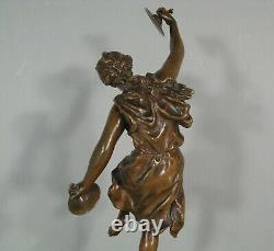 Danseuse Joueuse De Cymbales Faunesse Sculpture Bronze Ancien Signé Rancoulet
