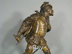 Duelliste Gentilhomme Renaissance Sculpture Ancienne Bronze Signé Guillemin