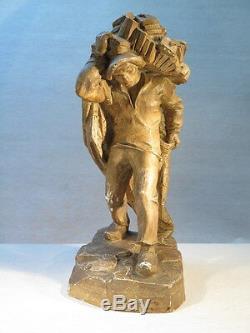 Ecole Bretonne Ancien Platre D'atelier Sculpture Statue Pecheur 1930-1940
