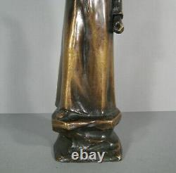 Ecrivain Poete Dante Alighieri Sculpture Bronze Ancien Signé Alfredo Angeloni