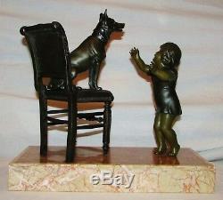 Enfant & Son Chien Berger Sculpture Sujet Ancien Art Deco Groupe Regule