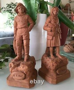 Eugène BLOT 2 Statuettes en Terre cuite Ancienne LE HAVRE Souvenir Bord de Mer